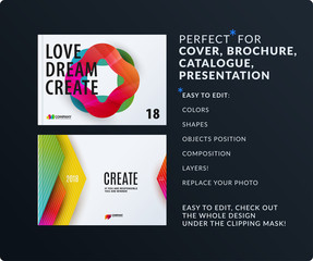 Presentation. Abstract vector set of modern horizontal templates with colourful wave