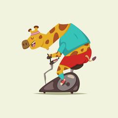 Cute Giraffe cartoon character doing exercise on a stationary bike. Fitness and healthy lifestyle. Vector illustration of fat funny animal isolated on background.