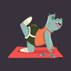 Cute Hippo cartoon character doing exercises for buttocks. Fitness and healthy lifestyle. Vector illustration of fat funny animal isolated on background.