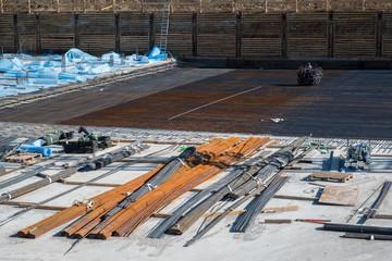 Baustelle neues Fundament im Rohbau
