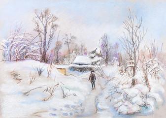 winter landscape in village