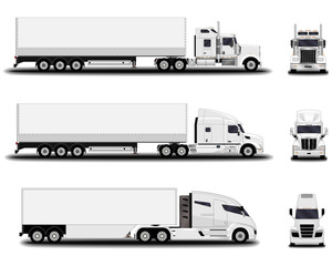 realistic trucks set. front view; side view.