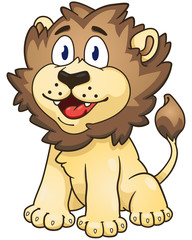 Cartoon lion. Vector clip art illustration with simple gradients.