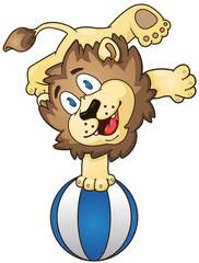 Cartoon lion on the beach ball. Vector clip art illustration with simple gradients.