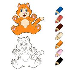 Happy cartoon kitten. Vector coloring book illustration.