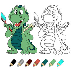 Cute dragon with toothpaste coloring book version.