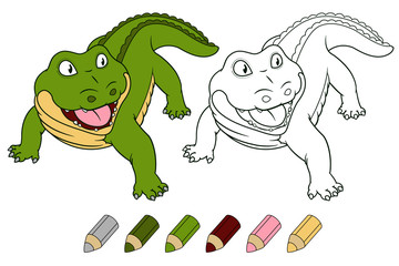 Cartoon crocodile coloring book version. Vector.