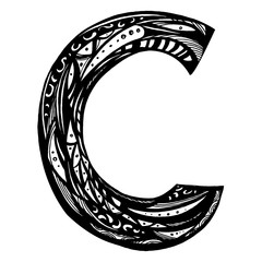 cut letter C isolated