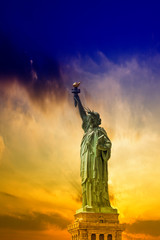Statue of Liberty with beautiful sky.