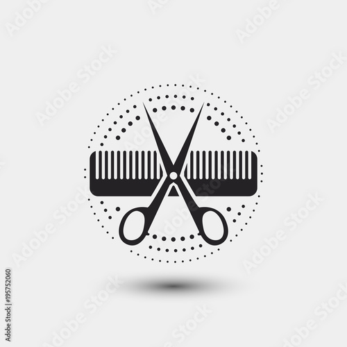 Quot Hair Salon Logo Scissors Comb Vector Illustration Quot Stock