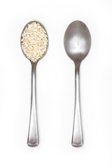 food inequality, two spoons: one full of rice and the other with just a grain