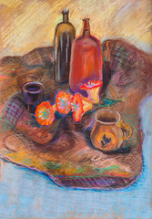 Still life on motley cloth