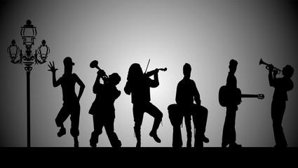 musiciens dans la rue le matin