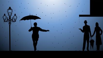 sous la pluie soir
