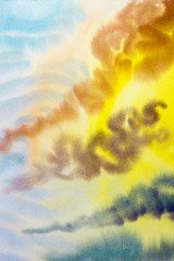 Watercolor painting cloud, sky colorful of raincloud in air.