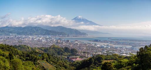 Panoramic view of Shizuoka city and Fuji mountain behind on cloudy day. Wall mural