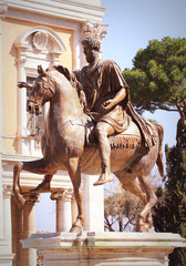 Equestrian statue of Marcus Aurelius in Piazza del Campidoglio in Rome