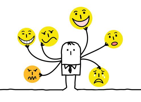 Cartoon Man with Multi Emoticon Faces