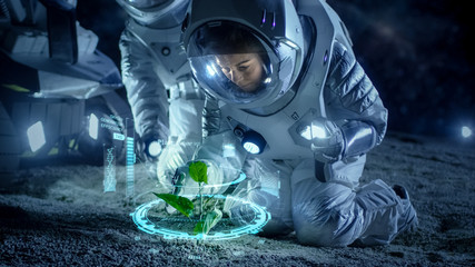 Two Astronauts Analyzing Plant Life Found on Alien Planet. Infographics Show Animated Data about Oxygen Generation, DNA and Molecular Structure. Technological Advance and Space Exploration.