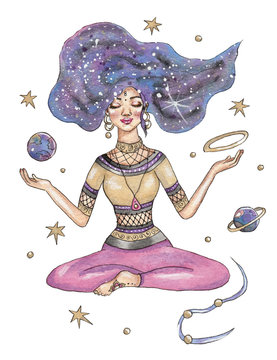 Hand drawn watercolor illustration with woman in meditation surrounded by stars
