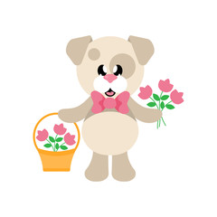 cartoon cute dog with tie and flowers and basket