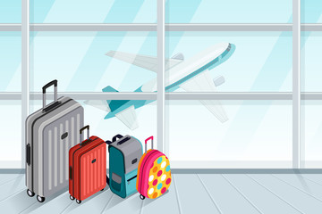 Multicolor luggage, suitcase, bags near the airport terminal window. Vector 3d isometric illustration. Takeoff airplane in window. Checked baggage, travel by aircraft and tourism concept.