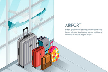 Luggage, suitcase, bags near the airport terminal window. Vector 3d isometric illustration. Takeoff airplane in window. Checked baggage, travel by aircraft and tourism concept. Banner with copy space.