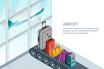 Different luggage, suitcase, bags on conveyor belt near airport terminal window. Vector 3d isometric illustration. Checked baggage, travel by aircraft and tourism concept. Banner with copy space.