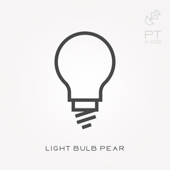 Line icon light bulb pear