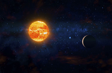 Two planets orbiting nearby red giant. Outer Space, Cosmic Art and Science Fiction Concept.