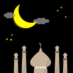 Ramadan kareem Eid template background with copy space with icon mosque, moon, and star as symbolic of Arab muslim in Islamic religion