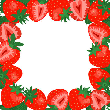 Strawberry square border frame. Vector frame illustration of strawberry with leaves on a white background.