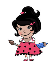 little girl artist smiling in cartoon funny style with pencil and brush (in the pink sundress, with a ponytail and hair clip)