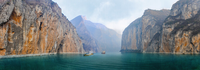 Two barges with sand and gravel in the river Yangtze