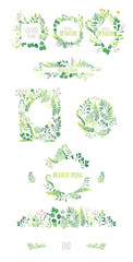 Big set of eco style round and square frames, decorations elements, borders made of green leaves, twigs, herbs, flowers and branches, flat doodle vector illustration isolated on white background