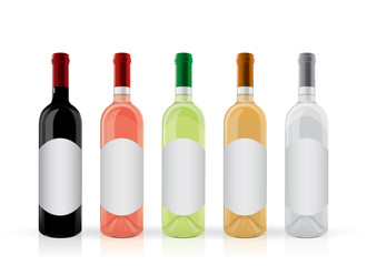 wine bottles with a round label