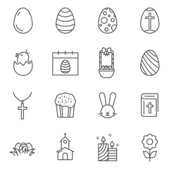 Set of Easter line vector icons. Outline style