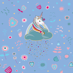 Unicorns with clouds and colored drops with cute  pink flowers around seamless pattern. Vector illustration on light blue background