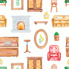 Seamless background pattern with paintings, fireplace, sofa, armchair, banquet, piano, chairs and flowers. Watercolor hand drawn illustration
