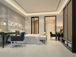 3d render of modern luxury hotel room