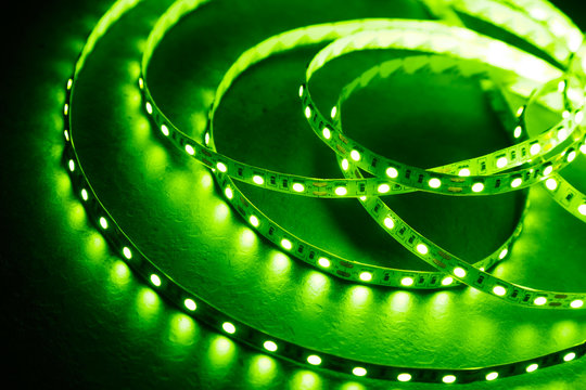 Diode strip with green light. LED strip for decoration of interiors.