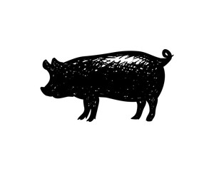 Pig Livestock Drawing Symbol Animal Silhouette Logo Vector