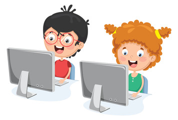 Vector Illustration Of Kids With Computer