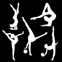 White silhouette of gymnast on black background