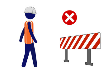 Isolated vector icon site worker walking forward even after seeing barrier.