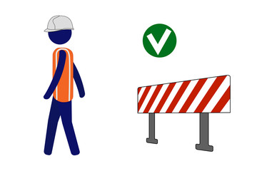 Isolated vector icon site worker walking back after seeing barrier.