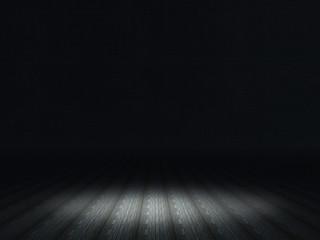 3D dark grunge interior with spotlight shining on wooden floor