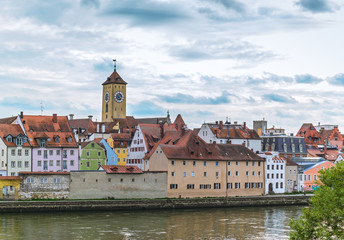 River bank in Old Town of Regensburg Bavaria, Germany. The evening