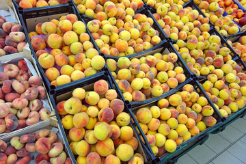 Peaches on a counter