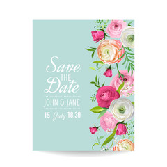 Save the Date Card with Blossom Ranunculus Flowers. Wedding Invitation, Anniversary Party, RSVP Floral Template. Vector illustration
